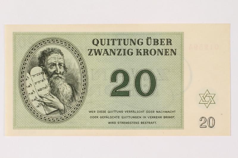 1996.33.8 front Theresienstadt ghetto-labor camp scrip, 20 kronen note