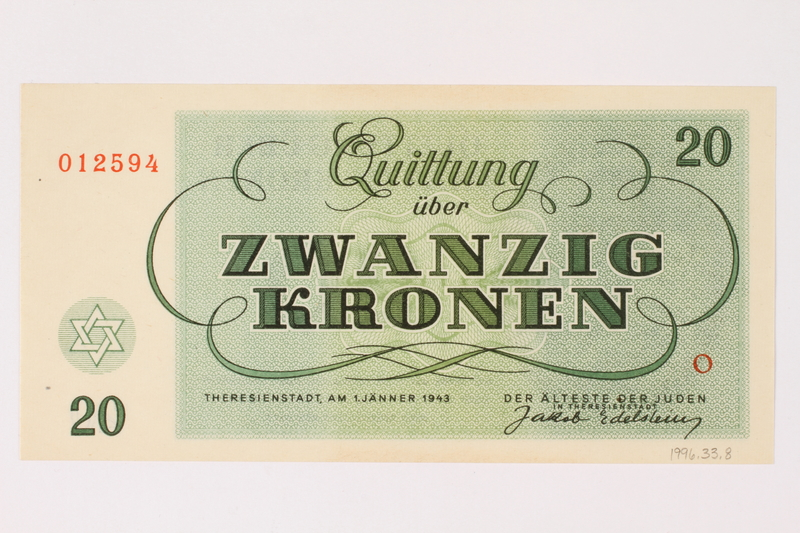 1996.33.8 back Theresienstadt ghetto-labor camp scrip, 20 kronen note