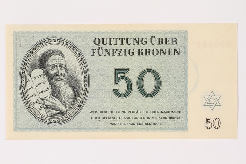 1996.33.9 front Theresienstadt ghetto-labor camp scrip, 50 kronen note
