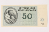 1996.33.9 front Theresienstadt ghetto-labor camp scrip, 50 kronen note  Click to enlarge