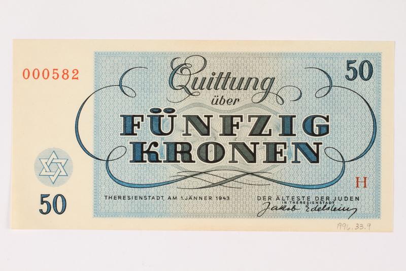 1996.33.9 back Theresienstadt ghetto-labor camp scrip, 50 kronen note