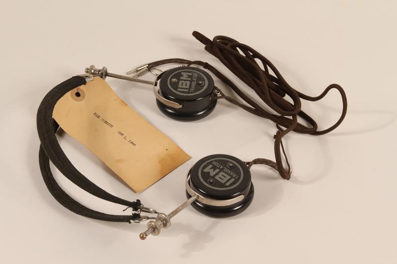 1996.36.1 front Karl Dönitz's Nuremberg war crimes trial headphones