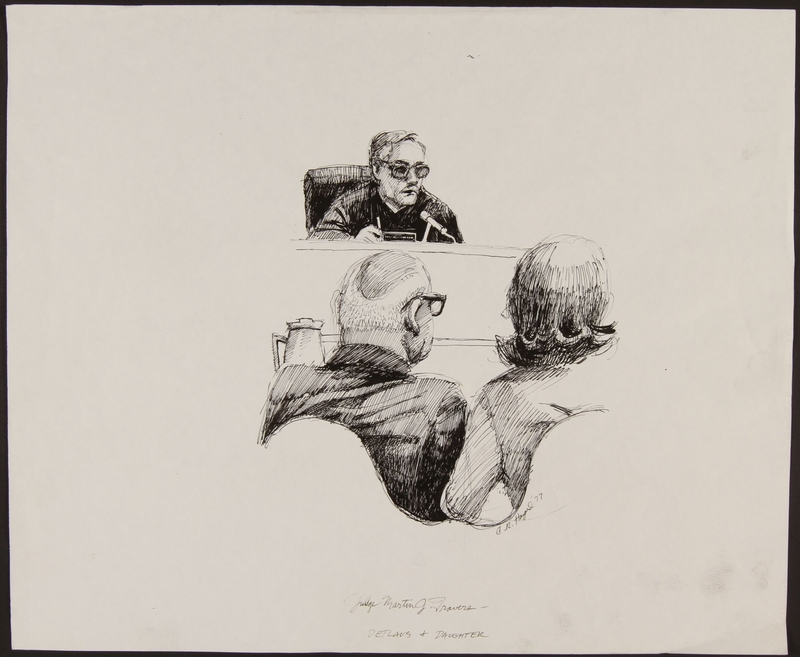 1989.329.1 front Drawing of judge speaking to defendant, an accused Latvian war criminal