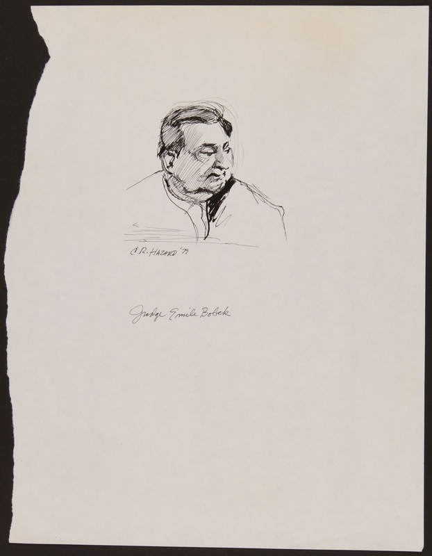 1989.329.10 front Drawing of judge at trial of suspected Latvian war criminal