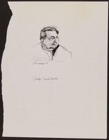 1989.329.10 front Drawing of judge at trial of suspected Latvian war criminal  Click to enlarge
