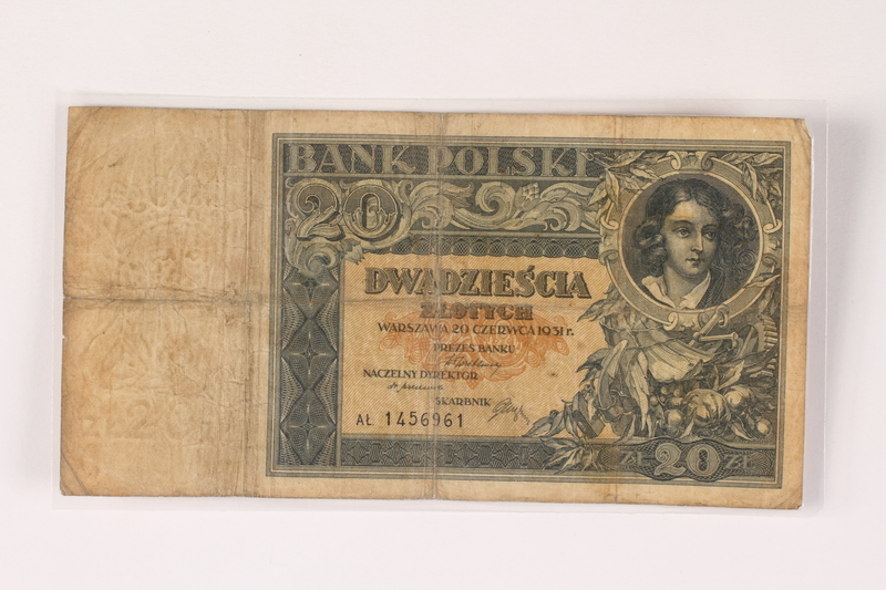 1996.43.1.3 front Poland, 20 zloty note