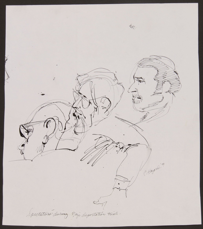 1989.329.11 front Sketch of 3 spectators at trial of accused Latvian war criminal