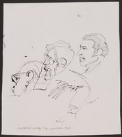 1989.329.11 front Sketch of 3 spectators at trial of accused Latvian war criminal  Click to enlarge