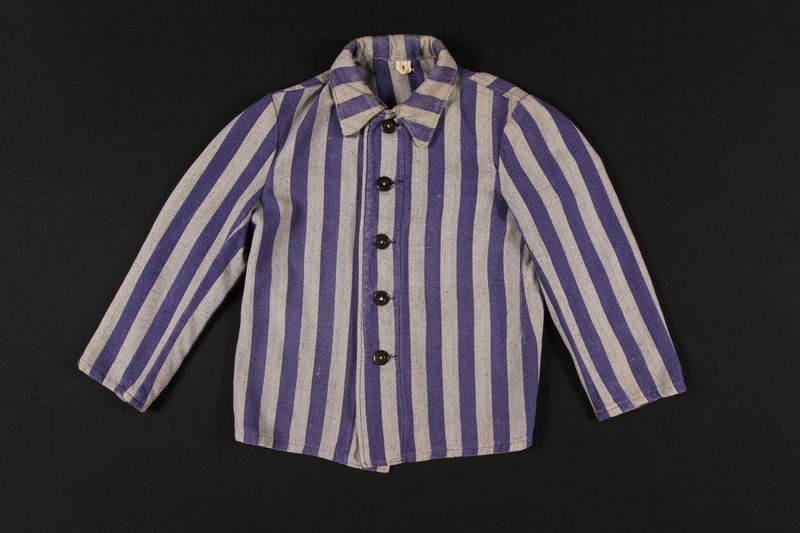 1996.45.1 front Concentration camp inmate uniform jacket