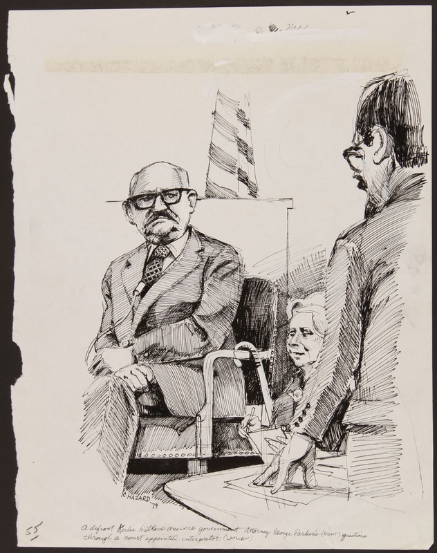 1989.329.12 front Drawing of defendant and US attorney at trial of suspected Latvian war criminal
