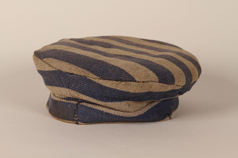 1996.5.2 front Concentration camp uniform cap worn by a Polish Jewish prisoner