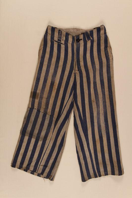 1996.5.3 front Concentration camp uniform pants worn by a Polish Jewish prisoner
