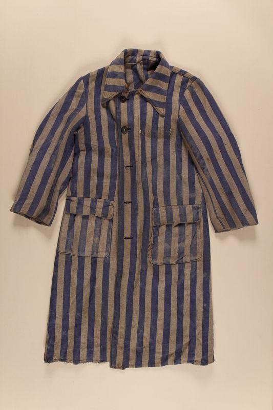 1996.5.4 front Concentration camp uniform coat worn by a Polish Jewish prisoner