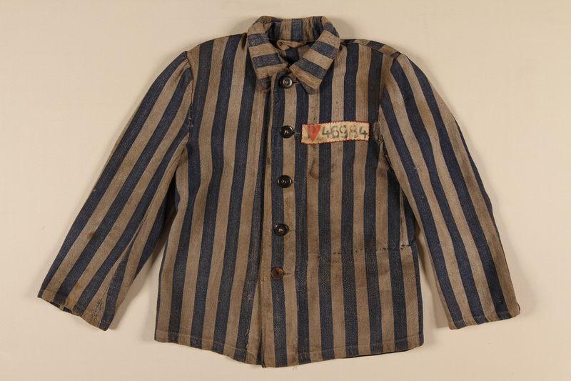 1996.5.5 front Concentration camp uniform jacket worn by a Polish Jewish prisoner