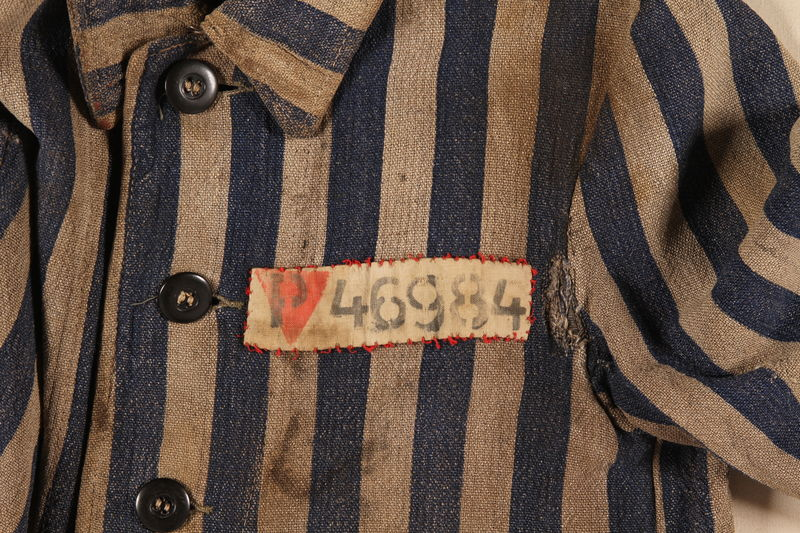 1996.5.5 detail Concentration camp uniform jacket worn by a Polish Jewish prisoner