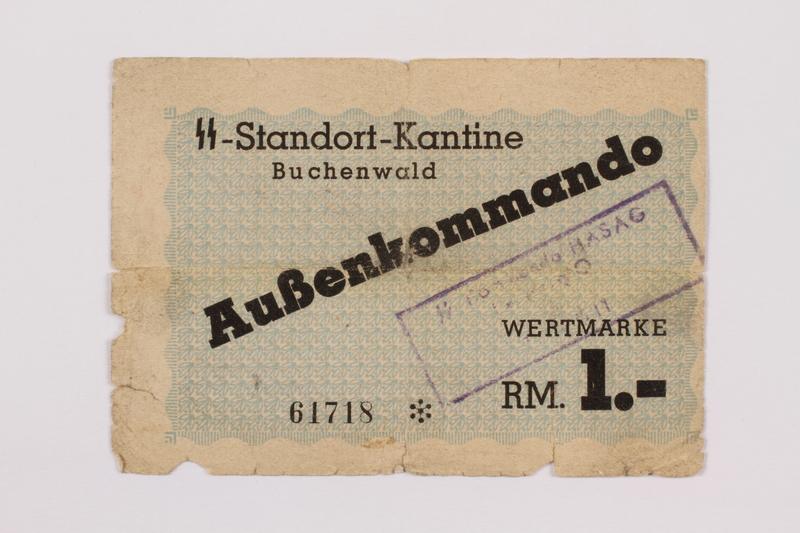 1996.50.1 front Buchenwald Aussenkommando scrip for HASAG slave labor camp, 1 Reichsmark, given to a Jewish refugee