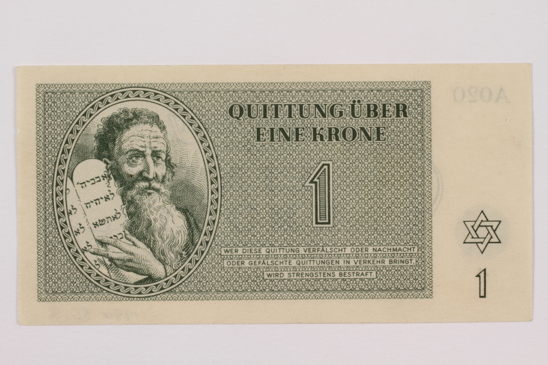 1996.50.2 front Theresienstadt ghetto-labor camp scrip, 1 krone note