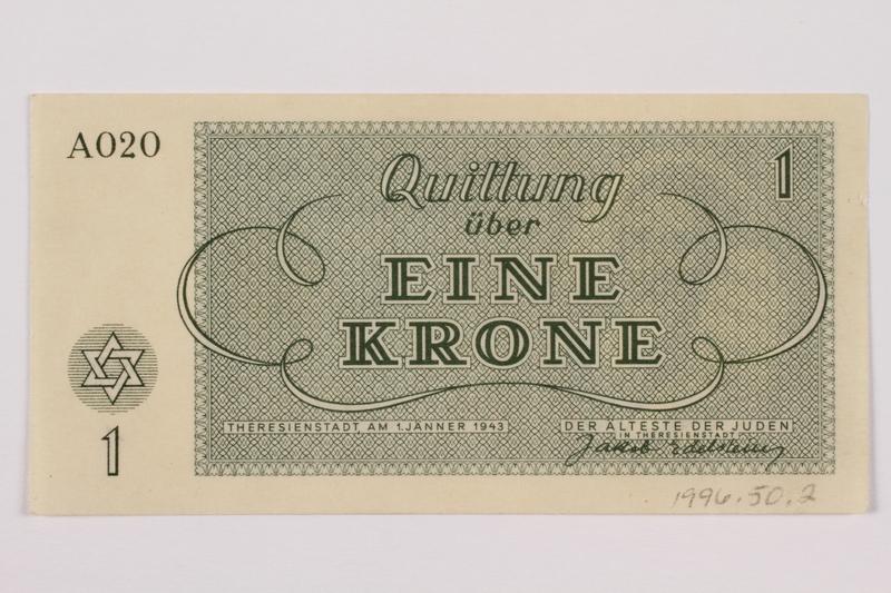 1996.50.2 back Theresienstadt ghetto-labor camp scrip, 1 krone note