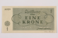 1996.50.2 back Theresienstadt ghetto-labor camp scrip, 1 krone note  Click to enlarge