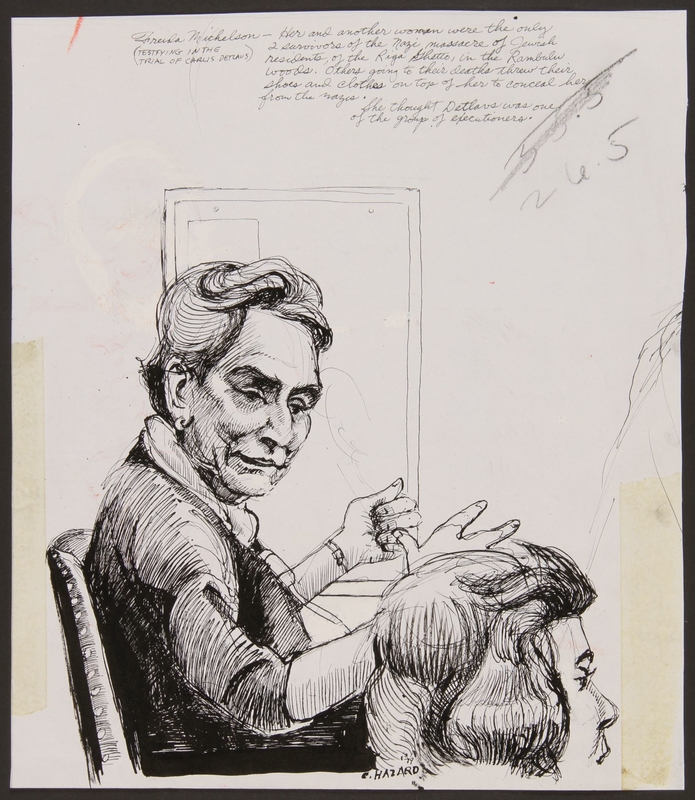 1989.329.13 front Drawing of Holocaust survivor testifying at trial of accused Latvian war criminal