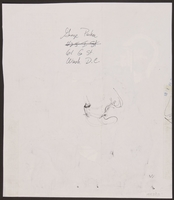 1989.329.13 back Drawing of Holocaust survivor testifying at trial of accused Latvian war criminal  Click to enlarge