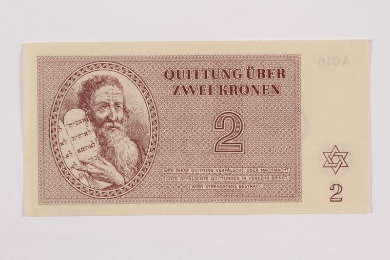 1996.50.3 front Theresienstadt ghetto-labor camp scrip, 2 kronen note