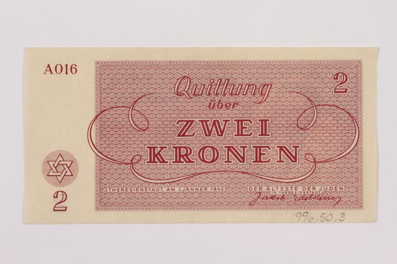 1996.50.3 back Theresienstadt ghetto-labor camp scrip, 2 kronen note