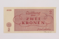 1996.50.3 back Theresienstadt ghetto-labor camp scrip, 2 kronen note  Click to enlarge