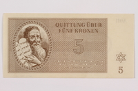 1996.50.4 front Theresienstadt ghetto-labor camp scrip, 5 kronen note  Click to enlarge