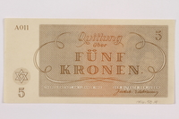 1996.50.4 back Theresienstadt ghetto-labor camp scrip, 5 kronen note  Click to enlarge
