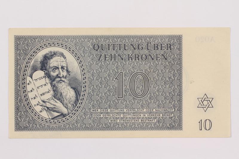 1996.50.5 front Theresienstadt ghetto-labor camp scrip, 10 kronen note