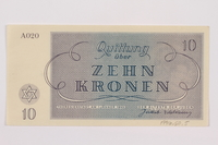 1996.50.5 back Theresienstadt ghetto-labor camp scrip, 10 kronen note  Click to enlarge