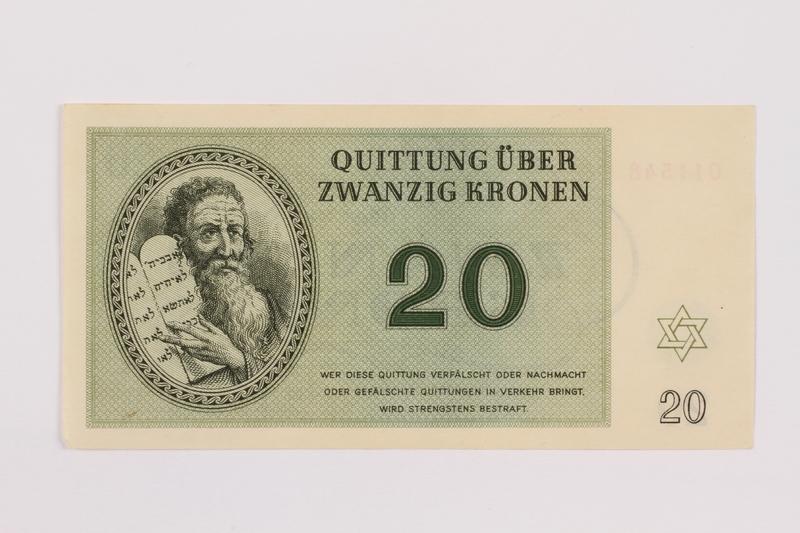 1996.50.6 front Theresienstadt ghetto-labor camp scrip, 20 kronen note