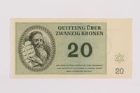 1996.50.6 front Theresienstadt ghetto-labor camp scrip, 20 kronen note  Click to enlarge