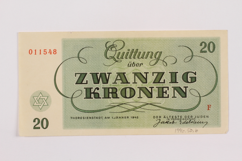1996.50.6 back Theresienstadt ghetto-labor camp scrip, 20 kronen note