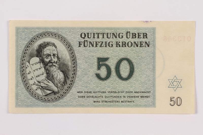 1996.50.7 front Theresienstadt ghetto-labor camp scrip, 50 kronen note