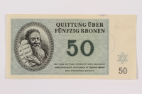 1996.50.7 front Theresienstadt ghetto-labor camp scrip, 50 kronen note  Click to enlarge