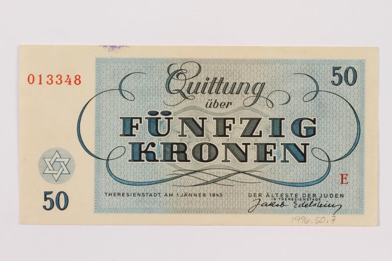 1996.50.7 back Theresienstadt ghetto-labor camp scrip, 50 kronen note