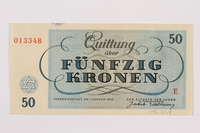 1996.50.7 back Theresienstadt ghetto-labor camp scrip, 50 kronen note  Click to enlarge