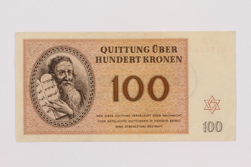 1996.50.8 front Theresienstadt ghetto-labor camp scrip, 100 kronen note
