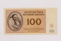 1996.50.8 front Theresienstadt ghetto-labor camp scrip, 100 kronen note  Click to enlarge