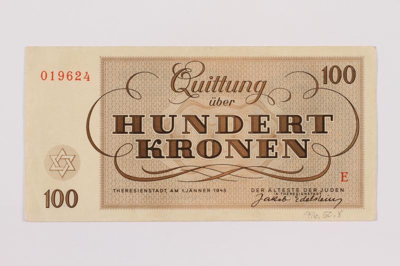 1996.50.8 back Theresienstadt ghetto-labor camp scrip, 100 kronen note