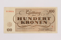 1996.50.8 back Theresienstadt ghetto-labor camp scrip, 100 kronen note  Click to enlarge