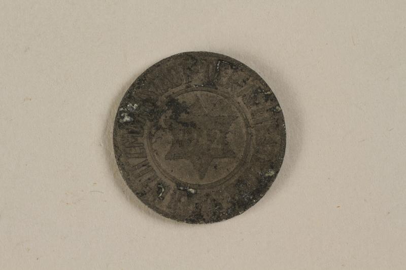 1996.53.1 front Łódź (Litzmannstadt) ghetto scrip, 10 pfennig coin