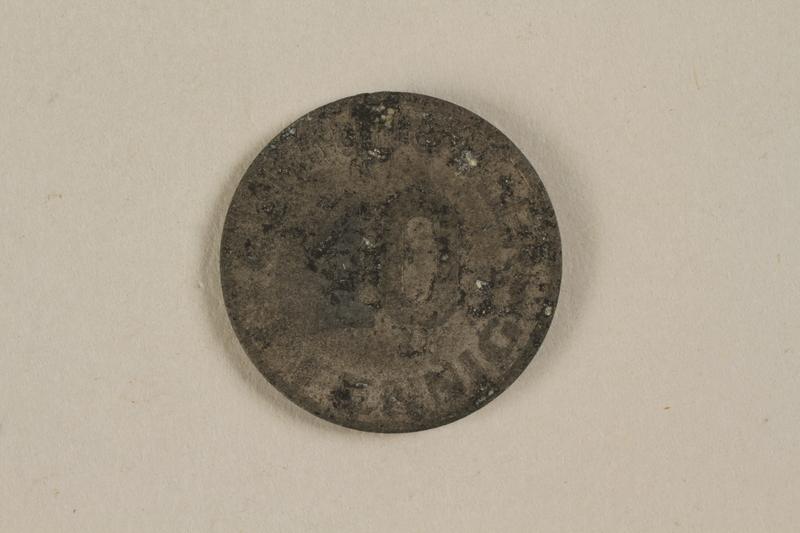 1996.53.1 back Łódź (Litzmannstadt) ghetto scrip, 10 pfennig coin
