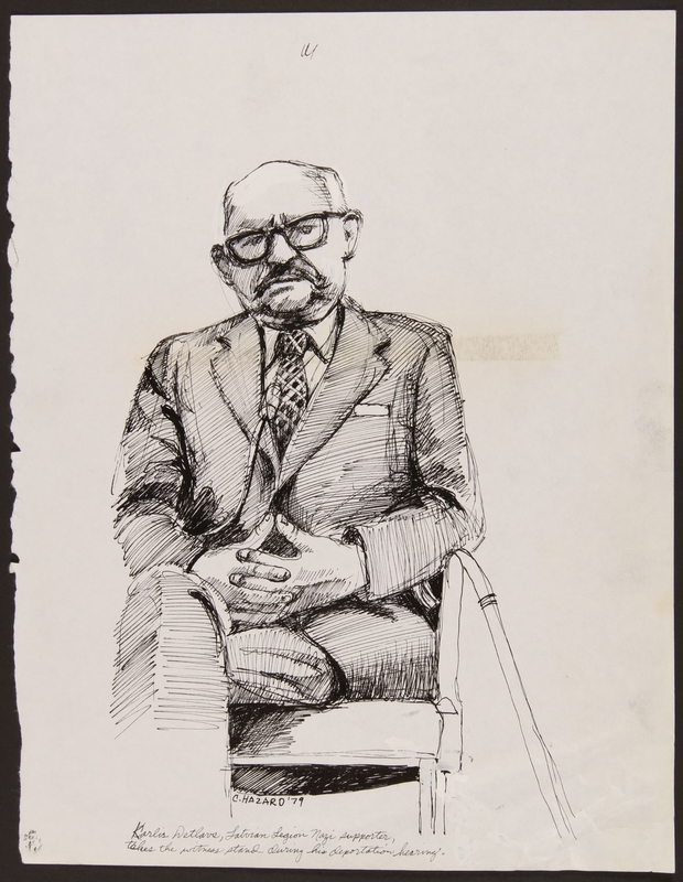 1989.329.14 front Drawing of accused Latvian war criminal on the stand