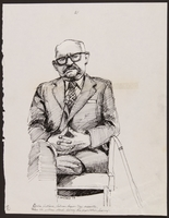 1989.329.14 front Drawing of accused Latvian war criminal on the stand  Click to enlarge