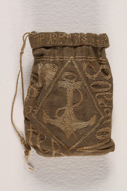 1996.59.14 front Hand-made tobacco pouch from Dachau concentration camp