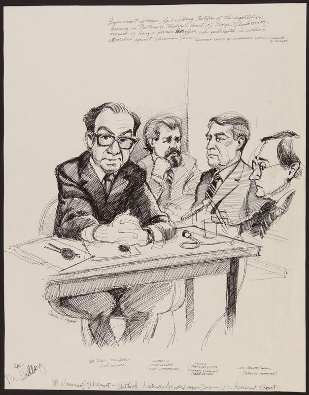 1989.329.15 front Double sided drawing of expert witness at trial of suspected Ukrainian war criminal