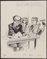1989.329.15 front Double sided drawing of expert witness at trial of suspected Ukrainian war criminal  Click to enlarge